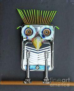 """Unique Junktique: Tuesday's Top Five Favorite Junk Finds -4 """"Painter Owl ' by Bill Thompson #junk #assemblage #art #owl #sculpture"""