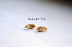 Wooden leaf silver plated stud earrings