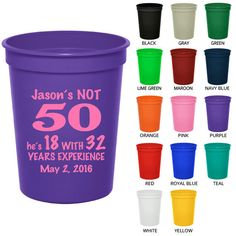 16 oz Birthday Stadium Cups (Clipart 19036) 50th Year of Experience - Party Favor Cups - Birthday Party Cups - Personalized Birthday Favors