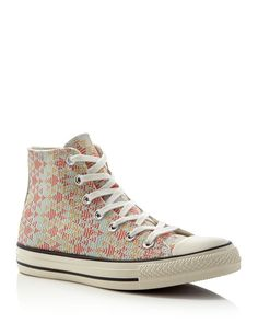 In a geometric woven pattern, Converse's high-top lace-up sneakers offer a textural twist on the off-duty staple. | Canvas upper, textile lining, rubber sole | Made in India | Fits large, order half s