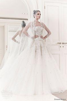 zuhair-murad-spring-2014-bridal-emma-strapless-wedding-dress-veil.jpg (600×900)