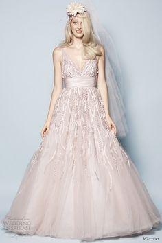 watters spring 2013 pink wedding dress soledad strapless gown