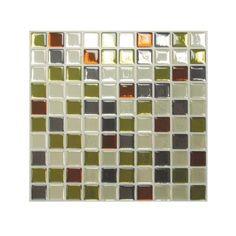 Kitchen back splash idea 9.85 in. x 9.85 in. Idaho Mosaic Adhesive Backsplashes (1-Piece)