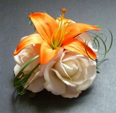 Orange lily with white rose corsage with yellow accents Orange Wedding, Floral Wedding, Wedding Bouquets, Wedding Flowers, Wedding Colors, Rose Corsage, Corsage And Boutonniere, Corsages, Flower Cake Toppers