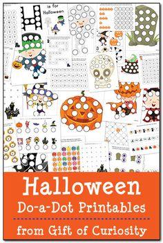 Halloween Do-um-Ponto Printables: 27 páginas de Halloween planilhas fazer-a-ponto para ajudar as crianças a trabalhar em one-to-one correspondência, formas, cores, padrões, letras e números.  #Halloween #DoADot #freeprintables     Dom da curiosidade