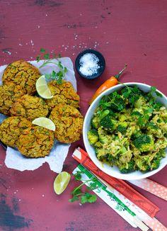 Cremet broccolisalat og spicy linsedeller - Vanlose Blues