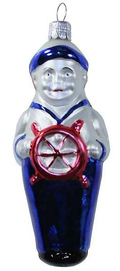 Blown glass sailor boy Christmas ornament from the Czech Republic