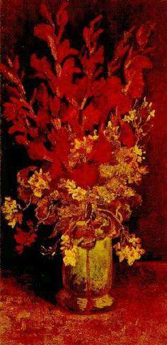 "Vincent van Gogh, ""Vase with Gladioli and Carnations,"" 1886."