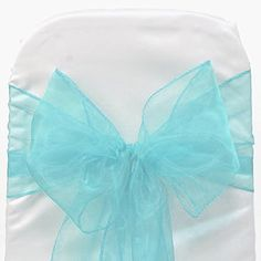 Mds 100 Pieces Terquoise Blue Organza Organza chair sashes bow Sash for wedding and Events Supplies Party Decoration chair cover sash *** Want additional info? Click on the image. (This is an affiliate link and I receive a commission for the sales)