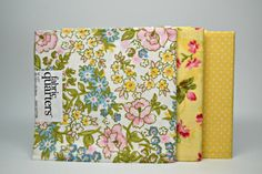 Yellow Pink and Blue Fabric Quarters Set of 3 Yellow Polka Dot