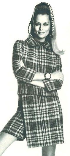 Lauren Hutton wearing a plaid suit, 1967