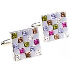 Romance Colorful Crystal Mosaic Cufflinks