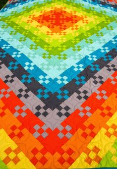 Budding Nine Patch Quilt by Sue Daurio from Sue Daurio's Quilting Adventures Colchas Quilting, Scrappy Quilts, Easy Quilts, Batik Quilts, Quilting Tutorials, Quilting Projects, Quilting Designs, Bright Quilts, Colorful Quilts