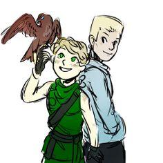 (All credits to artist) Zane, Lloyd, and Zane's falcon friend :)