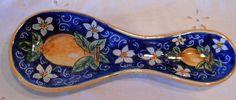 """Poggiacucchiaio in ceramica.Dipinto a mano decoro """"Limoni""""., by ilciliegio, 9,00  su misshobby.com"""