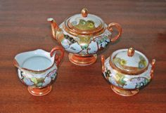 Antique Japanese Satsuma Moriage Teapot, Creamer, And Sugar Dish, Japanese Tea Set Japanese Tea Set, Cute Japanese, Vintage Japanese, Tea Places, Sugar Bowls And Creamers, Cream And Sugar, Chocolate Pots, Piece Of Cakes, Drinking Tea