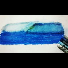 Oil pastels water wave #art #oilpastel #sketch #draw #artist #pastel #charcoal #illustration #artwork #pencil #picture #drawing #sketchbook #チョークアート #pastels #color #paint #チョーク #oil #パステル #painting #waves #watercolor #water #sea #ocean #blue
