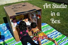 recycled box art play area..... How fun! Set up a writing/art or even library nook outside with a large box!