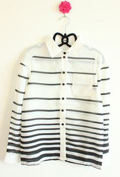 Late summer new women sansan Europe and the wind is simple black and white gradient stripe loose chiffon long sleeve shirt women