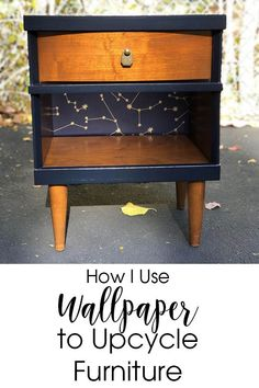 Using wallpaper to give your old or thrift store furniture a whole new look is easy and rewarding. DIY furniture makeover tips for using peel and stick wallpaper on this MCM nightstand.