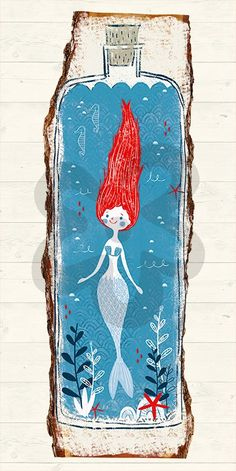 Mermaid In A Bottle, Beach & Ocean Canvas Wall Art | Oopsy Daisy