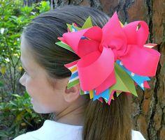 Pink Green Polka Dot Boutique hair bow Girls hair bow Custom hair bows