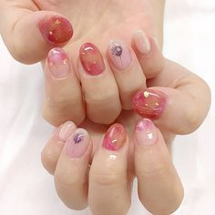 Thank you very much for the first time gel nail customers ☺ * # short nail # pressed flower nail # kuukinail – nails. Cute Nail Art, Cute Nails, Pretty Nails, Korean Nail Art, Korean Nails, Bright Nail Designs, Nail Art Designs, Print No Instagram, Hair And Nails