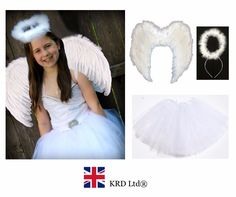 Kids angel #fairy feather #wings halo fancy dress costume outfit #stage party whi, View more on the LINK: http://www.zeppy.io/product/gb/2/252625364395/