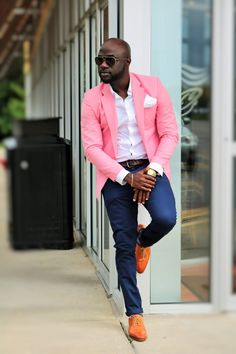 Pink Blazer Mens Outfit - Blazer Lifestyle Bag and Earring Blazer Outfits Men, Mens Fashion Blazer, Suit Fashion, Fashion Hats, Fashion Clothes, Designer Suits For Men, Mein Style, Business Casual Outfits, Professional Outfits