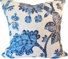 This Blue Floral Vintage Waverly Decorative Pillow Cover is a Gorgeous Classic Throw Pillow, that Presents the ..WYTHE HOUSE BORDER RESIST.. Print Designer Pattern. This Vintage American Colonial Pattern Features a Large Scale Flower and Vine Design in Colors of Indigo Blue and Denim Blue, Against an Off White Background, with the Same Fabric on Both Sides. Built in 1754 and Located in what is Now Colonial Williamsburg, Virginia, the Wythe House is the Two Story Brick Home of George Wythe…