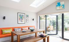 January 2020: Gillian Licari and John Denby doubled their kitchen space to create storage and a new place to relax | Kitchen Extension | Interior Design | Real Homes Open Plan Kitchen Living Room, Old Kitchen, Open Plan Living, Family Kitchen, Cornforth White, Bright Kitchens, Built In Bench, House And Home Magazine, Extension Ideas