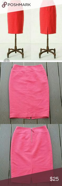 "Anthropologie Moulinette Soeurs pencil skirt Anthropologie Moulinette Soeurs pencil skirt in a coral color. Size 4.  Exposed back zipper. Fully lined. Slight fading from wear and dry cleaning. Small area on back where white threading shows slightly. Still in good condition, no holes or stains. Measures 24"" from waist to hem. Anthropologie Skirts Pencil"