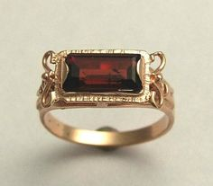 14K rose gold ring, gemstone ring, engagement ring, victorian ring, rose cut garnet ring, January birthstone ring - The sky is the limit ....