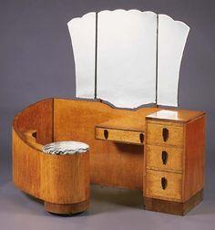 Birds'-eye maple & walnut dressing table, English, ca 1935.