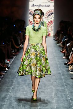 """Graz-based designer Lena Hoschek wowed the audience at Mercedes Benz Fashion Week in Berlin with her designs inspired by African prints. The collection titled """"Hot Mama Africa"""" – … African Inspired Fashion, African Print Fashion, Africa Fashion, Ethnic Fashion, Fashion Prints, Fashion Design, Ankara Fashion, Men's Fashion, African Print Skirt"""