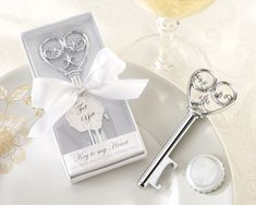 """Victorian """"Key To My Heart"""" Bottle Opener Wedding Favors - perfect for your vintage inspired wedding or shower!"""