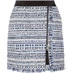 Karl Lagerfeld Satin-trimmed fringed metallic tweed mini skirt ($215) ❤ liked on Polyvore featuring skirts, mini skirts, blue, blue a line skirt, metallic skirt, mini skirt, short fringe skirt and short skirts