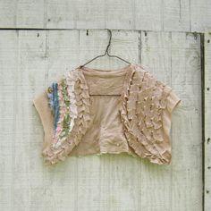 made to order - romantic mori girl inspired Funky Eco Cream Brulee Shrug / Wrap / Bridal
