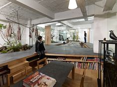 natural office love for nature open space showroom integrates an interior garden