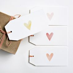 set of 10 gift tags (string not included) flat prints on watercolor paper You may also like... our notecards our tiny heart stamp our blind deboss heart notecards