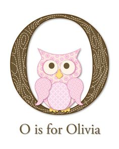 O is for Owl - 8 x 10 Art Print for Girl's Nursery or Bedroom. $15.00, via Etsy.