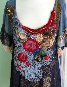 Bolereo bohemian romantic tunic lagenlook hand by FleurBonheur, $350.00