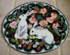 Did someone day bunnies?? Claire Murray Finished Rabbits Latch Hook Rug
