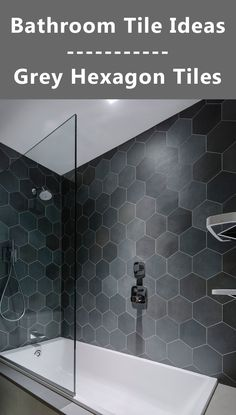 Bathroom Tile in a wall accent - Grey Hexagon Tiles