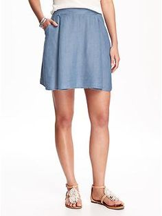 Fit & Flare Chambray Skirt for Women | Old Navy