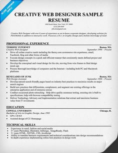 creative web designer sample resume with professional experience - Web Designer Resume Samples
