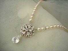 Bridal Pearl Necklace Ivory Swarovski by DivineJewel on Etsy, $50.00