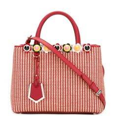 Fendi woven texture tote bag ($2,140) ❤ liked on Polyvore featuring bags, handbags, tote bags, red, woven leather tote bag, red tote, handbags totes, leather tote and leather purses