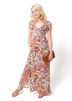 """Платье длинное """"Титана"""" для беременных; цвет: коралловый (ss17) – цены в Москве в интернет-магазине I Love Mum"""