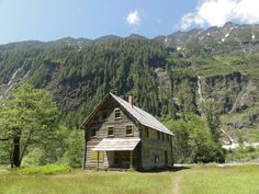 enchanted valley, olympic national park, washington, usa. this was built as a wilderness lodge before the park was established, but now serves as a ranger station and emergency hiker shelter. it's reached via a 13-mile hike up the quinault river.